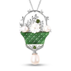 Green Jade, Russian Diopside, Fresh Water Pearl and White Mother of Pearl Bouquet Necklace in Rhodiu