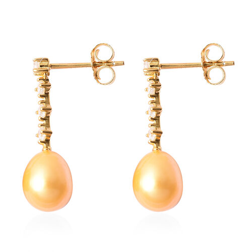 Freshwater Golden Pearl and Simulated Diamond Dangle Earrings (with Push Back) in Yellow Gold Overlay Sterling Silver