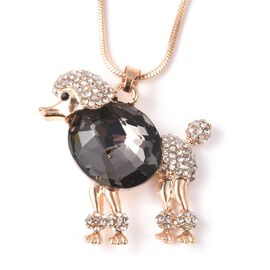 Simulated Grey Spinel (Ovl), Black and White Austrian Crystal Poodle Pendant with Chain (Size 28 wit