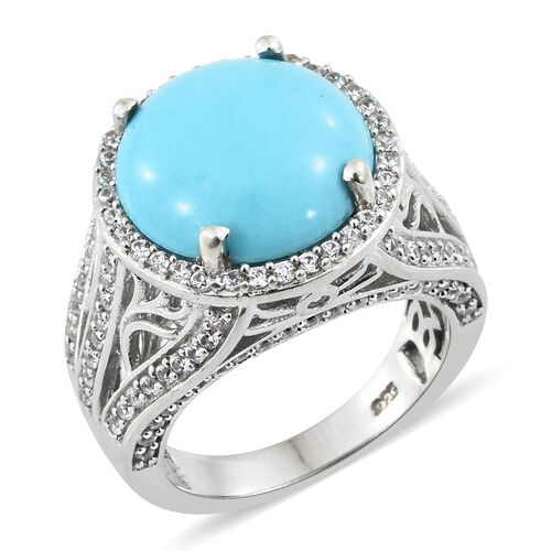 AA Arizona Sleeping Beauty Turquoise (Rnd 6.65 Ct), Natural Cambodian Zircon Ring in Platinum Overlay Sterling Silver 8.250 Ct, Silver wt 7.88 Gms, Number of Gemstone 131.
