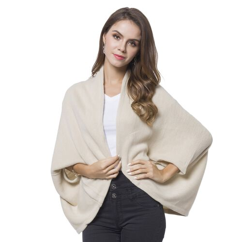 Designer Inspired-Cream Colour Cardigan (Size 105X35 Cm)