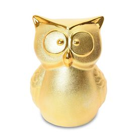 Ceramic Owl Coin Bank (Size 28x9 Cm) - Golden Colour