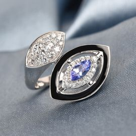 GP Tanzanite, Natural Cambodian Zircon and Blue Sapphire Enamelled Bypass Ring in Platinum Overlay Sterling Silver Silver wt 5.50 Gms