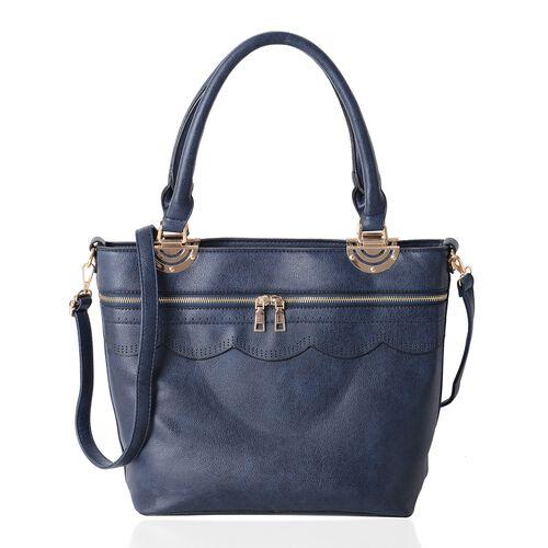 Set of 2 - Navy Blue Colour Handbag with Adjustable Shoulder Strap (Size 38x30x14x28.5 Cm)