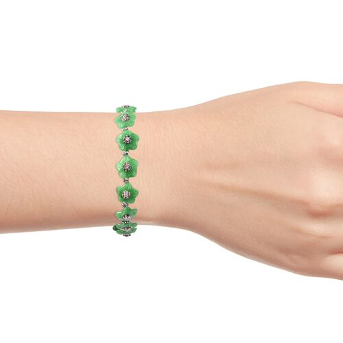 Carved Green Jade and Multi Sapphire Floral Bracelet (Size 7.25) in Rhodium Overlay Sterling Silver 46.48 Ct.