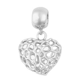 RACHEL GALLEY Rhodium Plated Sterling Silver Lattice Heart Charm Pendant