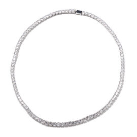 Christmas Special Deal- Simulated Diamond Tennis in Silver Plated Necklace (Size 18)