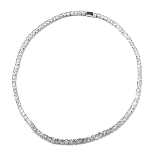 Simulated Diamond Tennis Necklace (Size 18) in Silver Tone