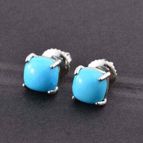 RHAPSODY 950 Platinum AAAA Arizona Sleeping Beauty Turquoise (Cush) Stud Earrings (with Screw Back) 2.000 Ct.