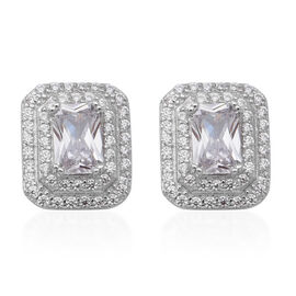 ELANZA Simulated Diamond Stud Earrings (with Push Back) in Rhodium Overlay Sterling Silver