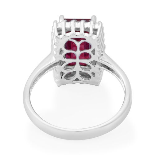 African Ruby and Diamond Ring in Rhodium Overlay Sterling Silver 4.30 Ct.