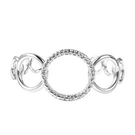 RACHEL GALLEY Allegro Cuff Bangle in Rhodium Plated Silver 31.30 Grams 7.25 Inch