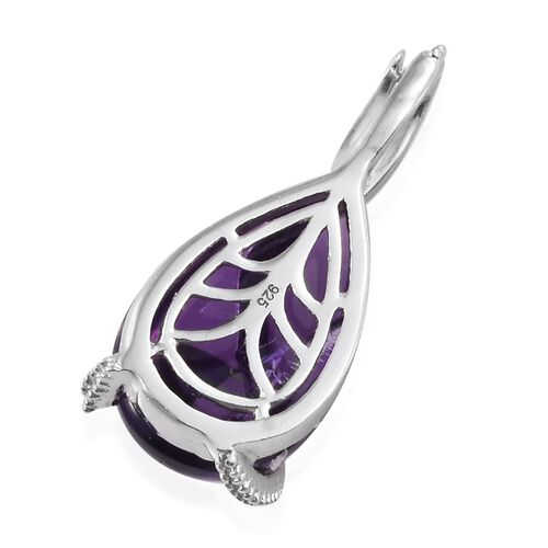 Amethyst (Pear), Boi Ploi Black Spinel Pendant in Platinum Overlay Sterling Silver 7.250 Ct.