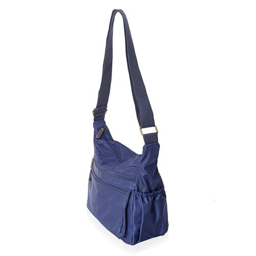 Navy Colour Water Resistant Crossbody Bag with Adjustable Shoulder Strap and External Zipper Pockets (Size 26x25x10 Cm)