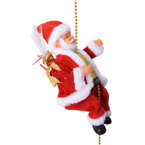Singing Electric Santa Claus Toys Rope Climbing and Bag (Size 12x22 Cm)