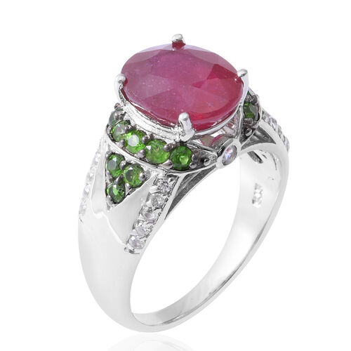Very Rare Size African Ruby (Ovl 5.52 Ct), Russian Diopside and Natural Cambodian Zircon Ring in Rhodium Overlay Sterling Silver 6.270 Ct,