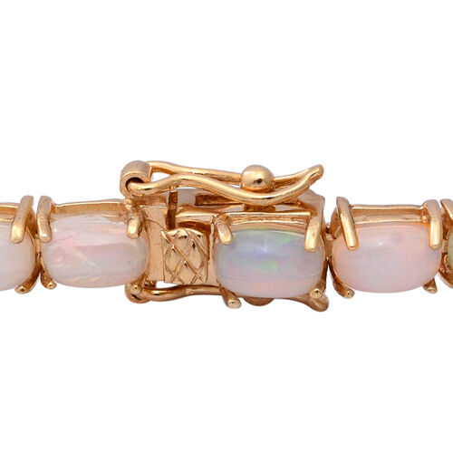 Ethiopian Welo Opal (Cush) Bracelet (Size 8) in Yellow Gold Overlay Sterling Silver 12.44 Ct, Silver wt 9.20 Gms
