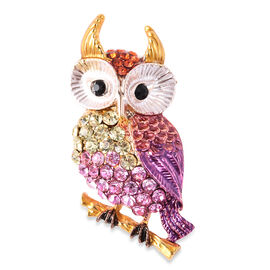 Multi Colour Austrian Owl Crystal Brooch in Gold Tone