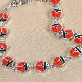 GP Blue Sapphire Lady Bird Enamelled Bracelet (Size 7) in Platinum Overlay Sterling Silver, Silver wt. 12.00 Gms