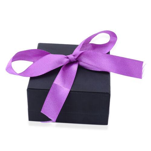 Luxury Black Large Jewellery Gift Box With Purple Ribbon [8.8x8.4x4.5cm]