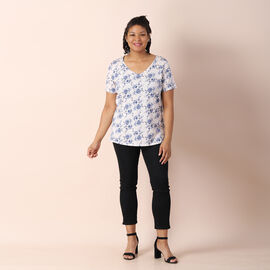 Jovie Jersey Print Short Sleeved With Artistic Floral  Pattern Top - White