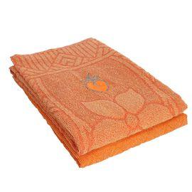 Set of 2 - 100% Cotton Embroidered Terry Bath Towel (Size 130X70 CM)- Orange