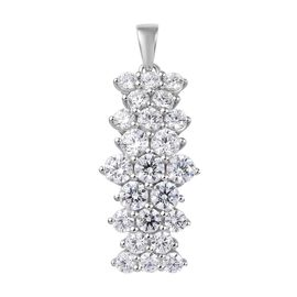 J Francis Made with SWAROVSKI ZIRCONIA Cluster Pendant in Platinum Plated Sterling Silver