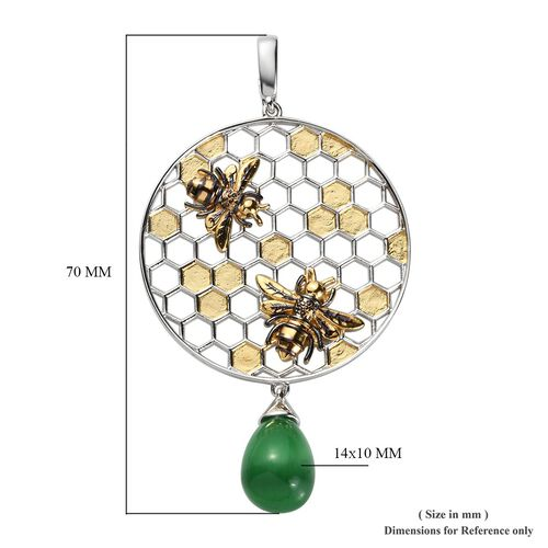 Sundays Child - Green Tiger Eye Honeycomb and Bee Pendant in Yellow Gold Overlay Sterling Silver 8.25 Gms, Silver wt. 10.67 Gms