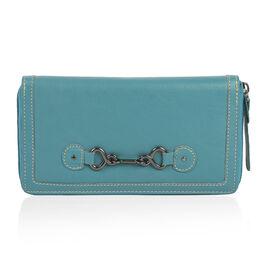Design Look Horsebit Logo100% Genuine Leather Blue Clutch Wallet with RFID Blocking (Size 19x2.5x10