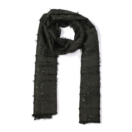 Close Out Deal- Metallic Fibre Scarf (Size 50x165 Cm) - Black