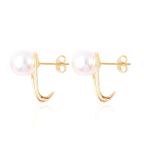 Natural White Colour Edison Pearl Earrings (with Push Back) in Yellow Gold Overlay Sterling Silver
