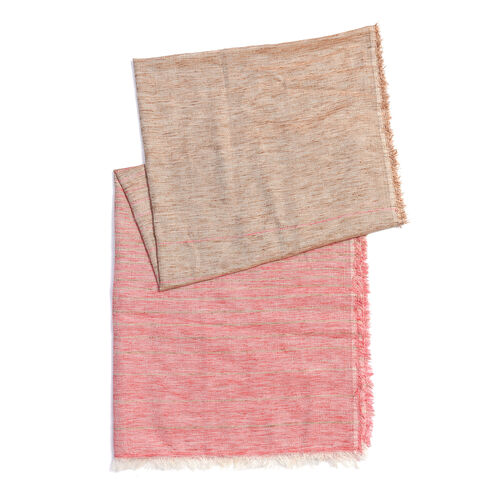 Beige and Pink Colour Scarf (Size 190x70 Cm)