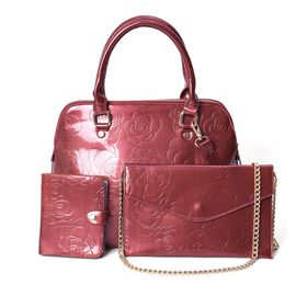3 Piece Set - Rose Floral Embossed Tote Bag, Clutch and Card Bag with Detachable Shoulder Strap - Bu