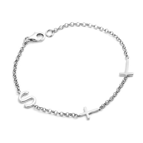 Personalise Two Alphabet + Cross, Name Bracelet in Silver, Size - 7.5 Inch