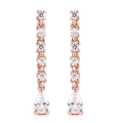 J Francis - Rose Gold Overlay Sterling Silver (Pear and Rnd) Drop Dangle Earrings (with Push Back) Made with SWAROVSKI ZIRCONIA