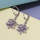 Tanzanite (Mrq), Natural Cambodian Zircon Snowflake Lever Back Earrings in Platinum Overlay Silver 1.97 Ct.