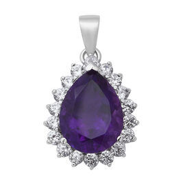 Zambian Amethyst (Pear 16x12 mm), Natural White Cambodian Zircon Pendant in Rhodium Overlay Sterling