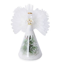White Glass Angel with White Feather Wings, Green Pine Branches and Snow with LED Light (Size 21x9x9 Cm)