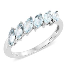 Espirito Santo Aquamarine (Mrq) Ring in Platinum Overlay Sterling Silver 1.250 Ct.