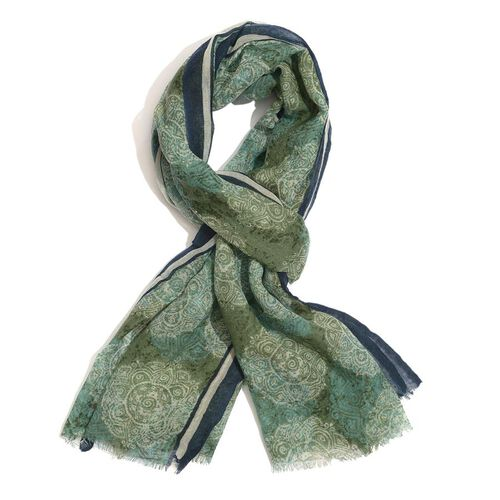 Designer Inspired 100% wool Green and Navy Blue Colour Hand Block Printed Scarf (Size 185x75 Cm)