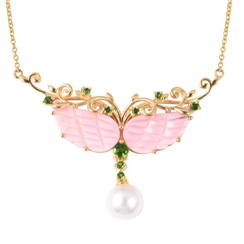 Jardin Collection - Pink Mother of Pearl, Freshwater Pearl and Russian Diopside Necklace (Size 18) i