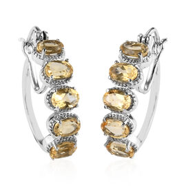 Citrine Hoop Earrings (with Clasp) in Stainless Steel 3.50 Ct.