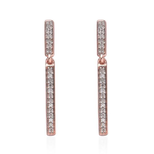 0.22 Ct Diamond Silver Single Strand Earrings (with Push Back) in Rose Overlay