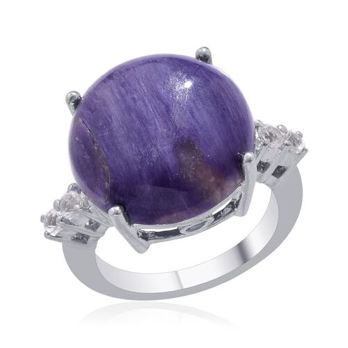 Russian Charoite (Rnd 14.50 Ct), White Topaz Ring in Platinum Overlay Sterling Silver 14.750 Ct. Silver wt 5.65 Gms.
