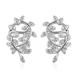 Platinum Overlay Sterling Silver Leaf Earrings (with Push Back), Silver wt 5.84 Gms