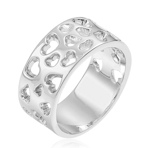 RACHEL GALLEY Rhodium Plated Sterling Silver Heart Lattice Band Ring, Silver wt. 6.77 Gms.