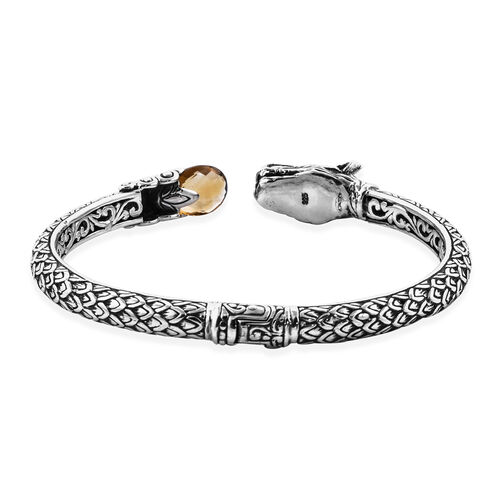 Royal Bali Collection Citrine Dragon Bangle (Size 7.5) in Sterling Silver Silver wt 25.68 Gms