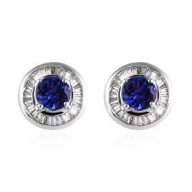 SUPER AUCTION - ILIANA 18K White Gold AAA Tanzanite (Rnd), Diamond Earrings 1.750 Ct.