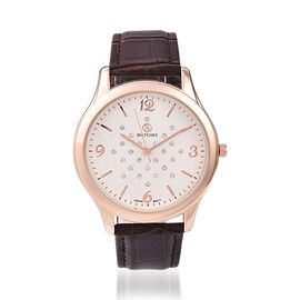 STRADA Japanese Movement Austrian White Crystal (Rnd) Water Resistant Watch in Rose Tone - Brown
