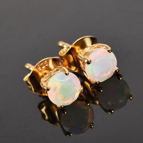 Ethiopian Welo Opal Stud Earrings in 14K Gold Overlay Sterling Silver 0.68 Ct.